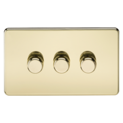 Knightsbridge Screwless 40-400W 3 Gang 2 Way Dimmer Switch - Polished Brass