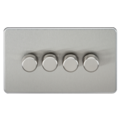 Knightsbridge Screwless 40-400W 4 Gang 2 Way Dimmer Switch - Brushed Chrome