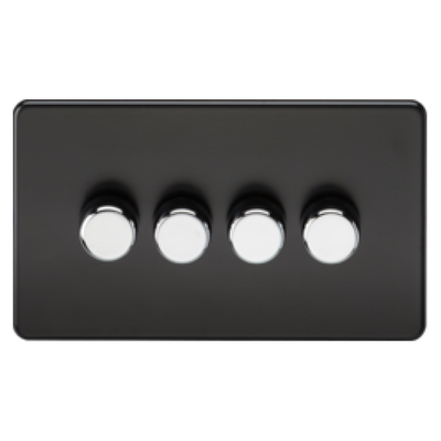 Knightsbridge Screwless 40-400W 4 Gang 2 Way Dimmer Switch - Matt Black