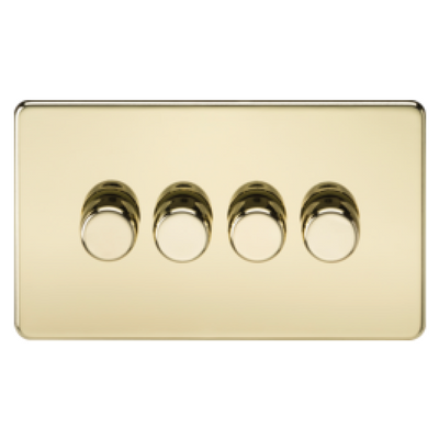 Knightsbridge Screwless 40-400W 4 Gang 2 Way Dimmer Switch - Polished Brass