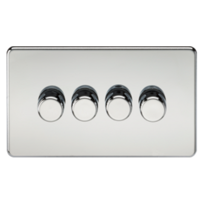 Knightsbridge Screwless 40-400W 4 Gang 2 Way Dimmer Switch - Polished Chrome