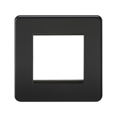 Knightsbridge Screwless 1 Gang 2 Module Europlate - Matt Black