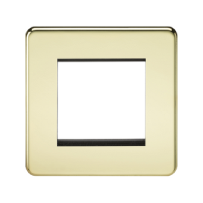 Knightsbridge Screwless 1 Gang 2 Module Europlate - Polished Brass
