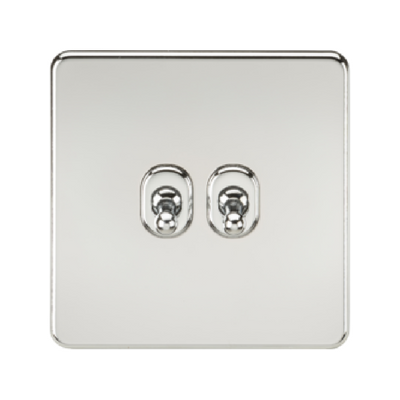 Knightsbridge Screwless 10A 2 Gang 2 Way Toggle Switch - Polished Chrome
