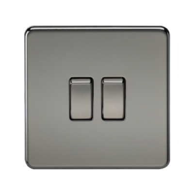 Knightsbridge Screwless 10A 2 Gang 2 Way Switch - Black Nickel