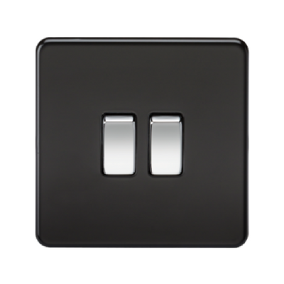 Knightsbridge Screwless 10A 2 Gang 2 Way Switch - Matt Black