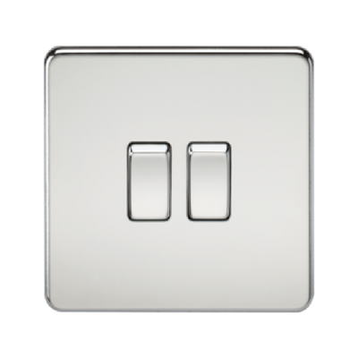 Knightsbridge Screwless 10A 2 Gang 2 Way Switch - Polished Chrome
