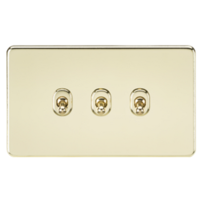 Knightsbridge Screwless 10A 3 Gang 2 Way Toggle Switch - Polished Brass