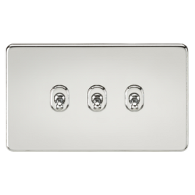 Knightsbridge Screwless 10A 3 Gang 2 Way Toggle Switch - Polished Chrome