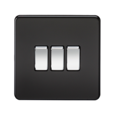 Knightsbridge Screwless 10A 3 Gang 2 Way Switch - Matt Black