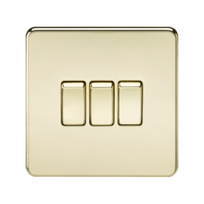 Knightsbridge Screwless 10A 3 Gang 2 Way Switch - Polished Brass