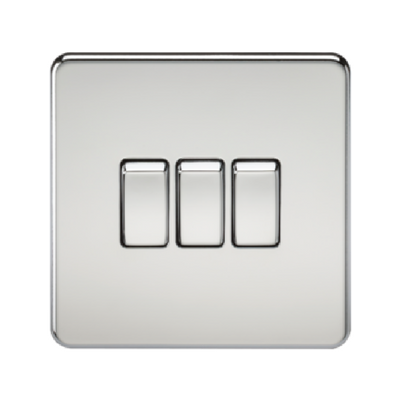 Knightsbridge Screwless 10A 3 Gang 2 Way Switch - Polished Chrome