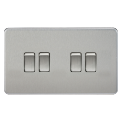 Knightsbridge Screwless 10A 4 Gang 2 Way Switch - Brushed Chrome