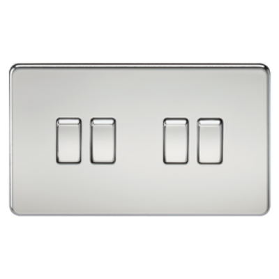 Knightsbridge Screwless 10A 4 Gang 2 Way Switch - Polished Chrome