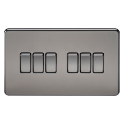 Knightsbridge Screwless 10A 6 Gang 2 Way Switch - Black Nickel