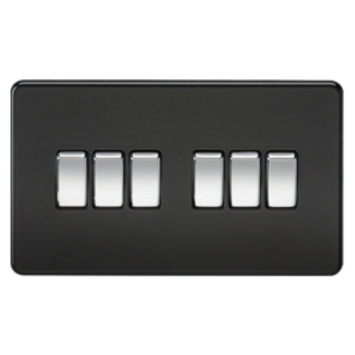 Knightsbridge Screwless 10A 6 Gang 2 Way Switch - Matt Black