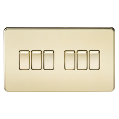 Knightsbridge Screwless 10A 6 Gang 2 Way Switch - Polished Brass