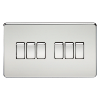 Knightsbridge Screwless 10A 6 Gang 2 Way Switch - Polished Chrome