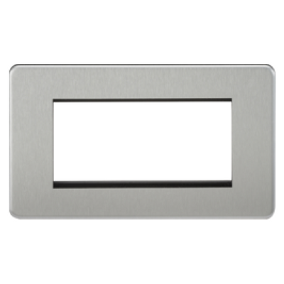 Knightsbridge Screwless 2 Gang 4 Module Europlate - Brushed Chrome