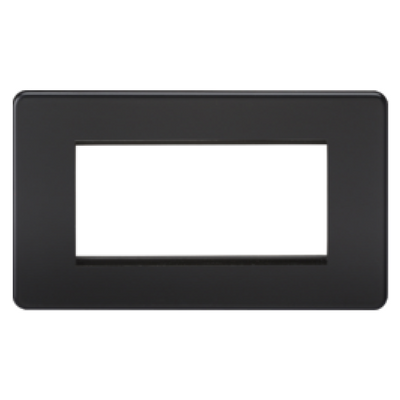 Knightsbridge Screwless 2 Gang 4 Module Europlate - Matt Black