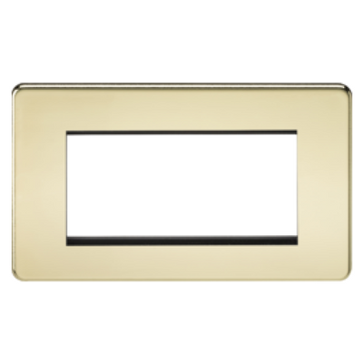 Knightsbridge Screwless 2 Gang 4 Module Europlate - Polished Brass