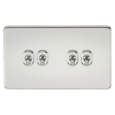Knightsbridge Screwless 10A 4 Gang 2 Way Toggle Switch - Polished Chrome