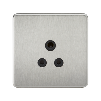 Knightsbridge Screwless 1 Gang 5A Single Socket - Brushed Chrome