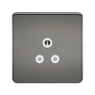 Knightsbridge Screwless 1 Gang 5A Single Socket - Black Nickel