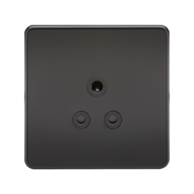 Knightsbridge Screwless 1 Gang 5A Single Socket - Matt Black