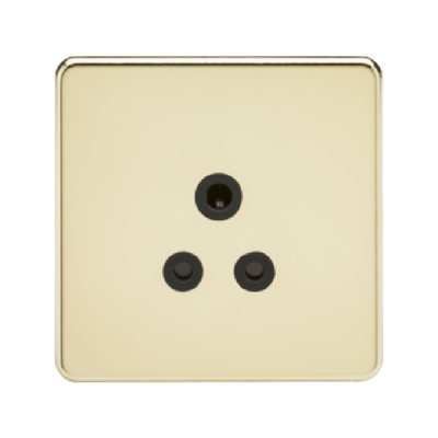 Knightsbridge Screwless 1 Gang 5A Single Socket - Polished Brass