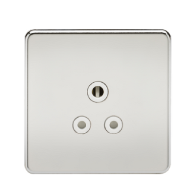 Knightsbridge Screwless 1 Gang 5A Single Socket - Polished Chrome