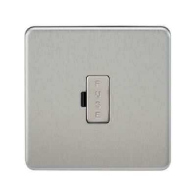 Knightsbridge Screwless 13A Unswitched Fused Connection Unit - Brushed Steel