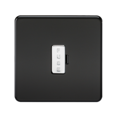 Knightsbridge Screwless 13A Unswitched Fused Connection Unit - Matt Black