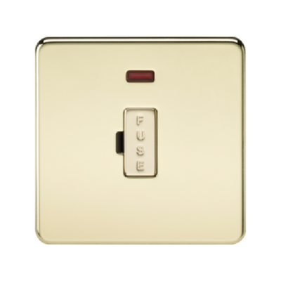 Knightsbridge Screwless 13A Unswitched Fused Connection Unit With Neon - Polished Brass