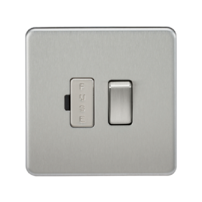 Knightsbridge Screwless 13A Switched Fused Connection Unit - Brushed Steel