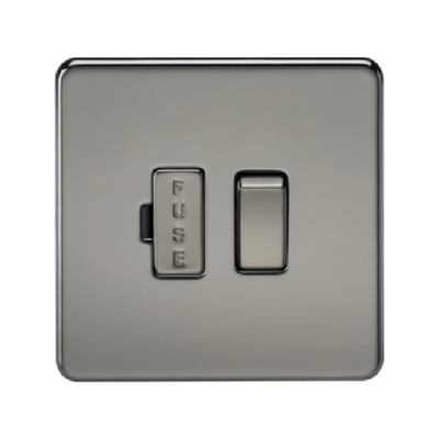 Knightsbridge Screwless 13A Switched Fused Connection Unit - Black Nickel