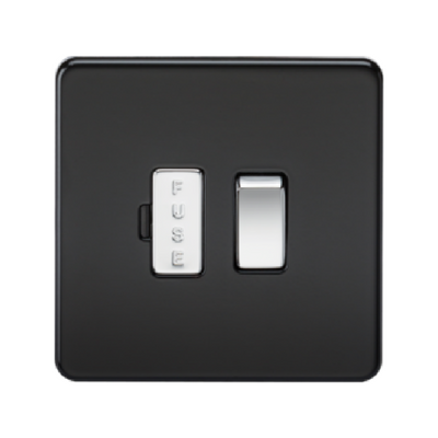 Knightsbridge Screwless 13A Switched Fused Connection Unit - Matt Black