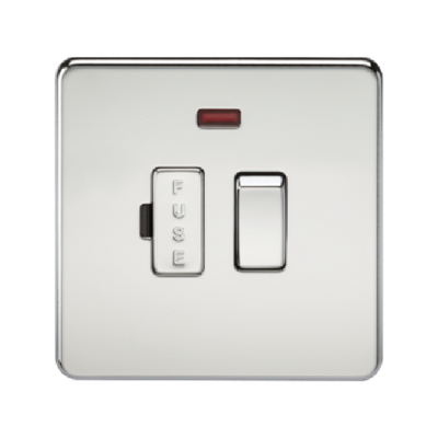 Knightsbridge Screwless 13A Switched Fused Connection Unit With Neon - Polished Chrome