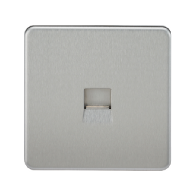 Knightsbridge Screwless Telephone Master Socket - Brushed Chrome