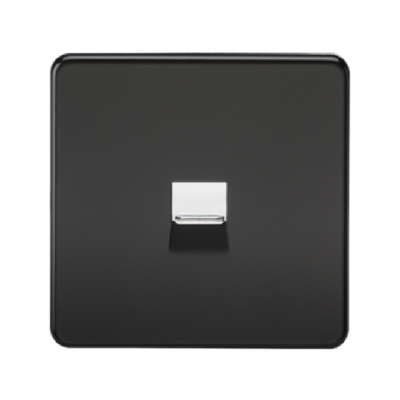 Knightsbridge Screwless Telephone Master Socket - Matt Black