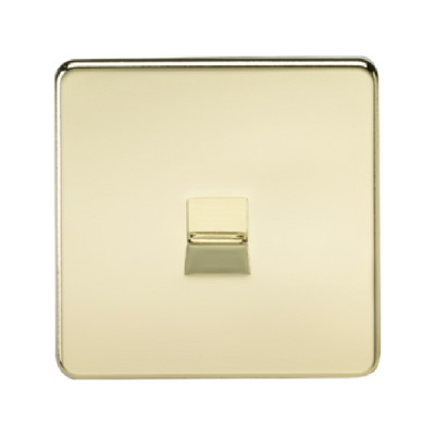 Knightsbridge Screwless Telephone Master Socket - Polished Brass