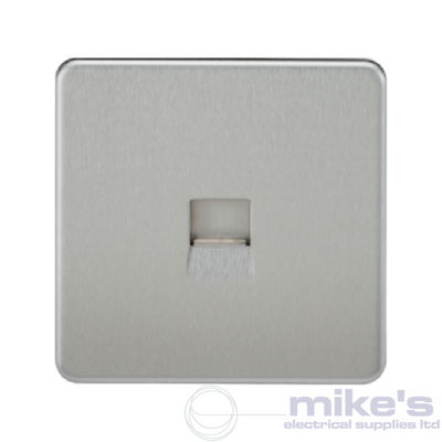 Knightsbridge Screwless Telephone Secondary Socket - Brushed Chrome
