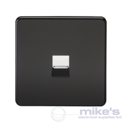 Knightsbridge Screwless Telephone Secondary Socket - Matt Black
