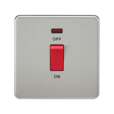 Knightsbridge Screwless 1 Gang 45A Cooker Switch With Neon - Brushed Chrome