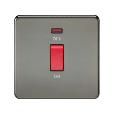 Knightsbridge Screwless 1 Gang 45A Cooker Switch With Neon - Black Nickel
