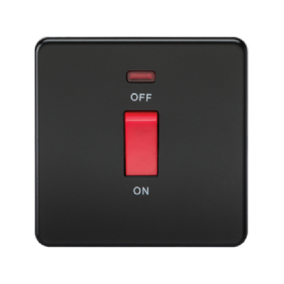 Knightsbridge Screwless 1 Gang 45A Cooker Switch With Neon - Matt Black