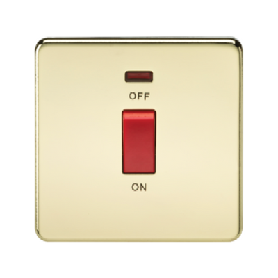Knightsbridge Screwless 1 Gang 45A Cooker Switch With Neon - Polished Brass
