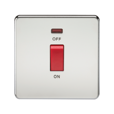 Knightsbridge Screwless 1 Gang 45A Cooker Switch With Neon - Polished Chrome