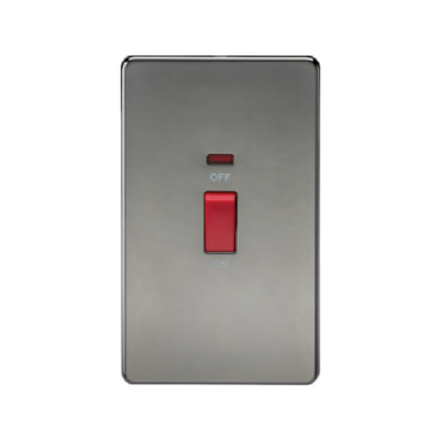 Knightsbridge Screwless 2 Gang 45A Cooker Switch With Neon - Black Nickel