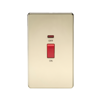 Knightsbridge Screwless 2 Gang 45A Cooker Switch With Neon - Polished Brass